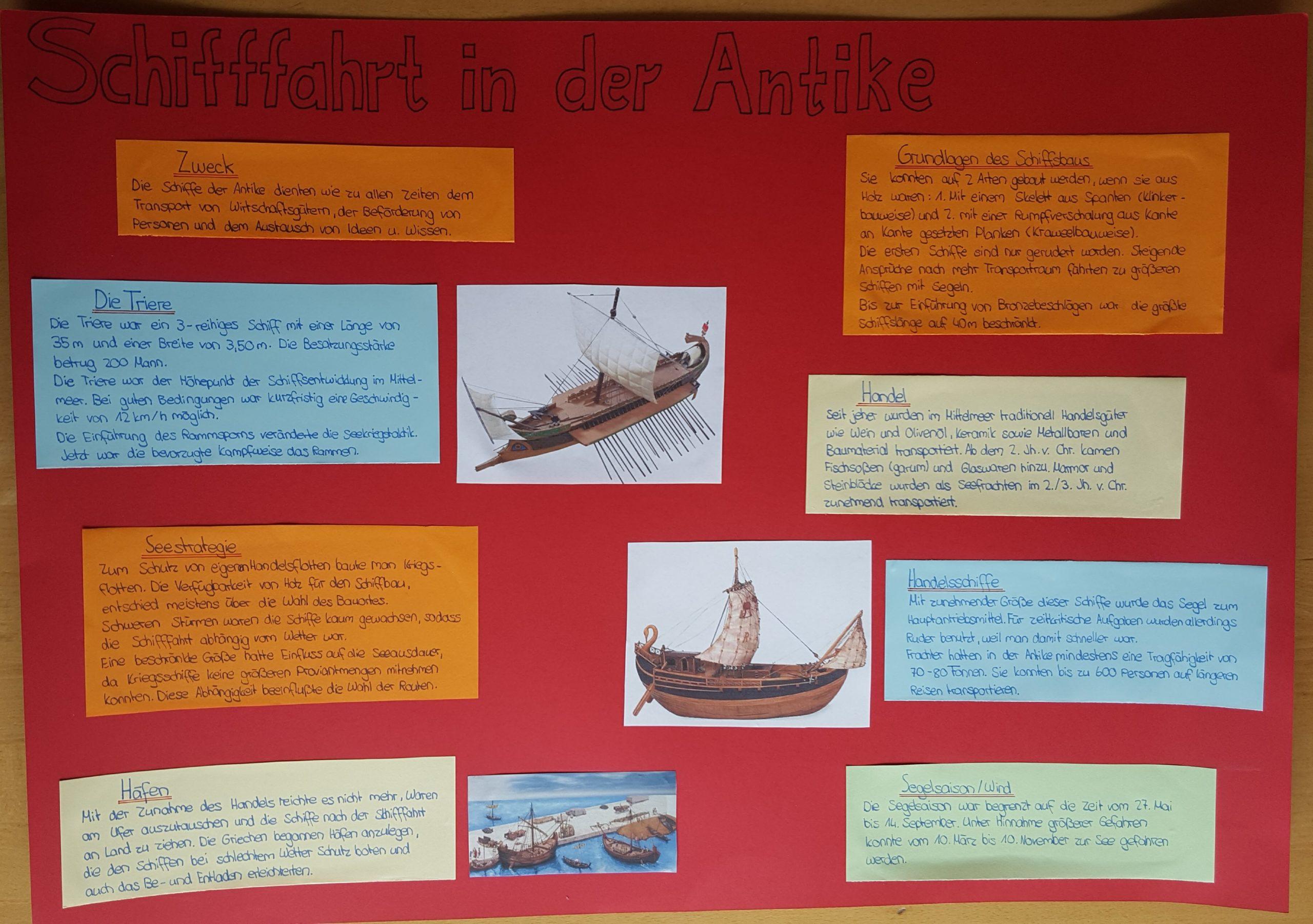 Plakat Referat Schifffahrt Antike